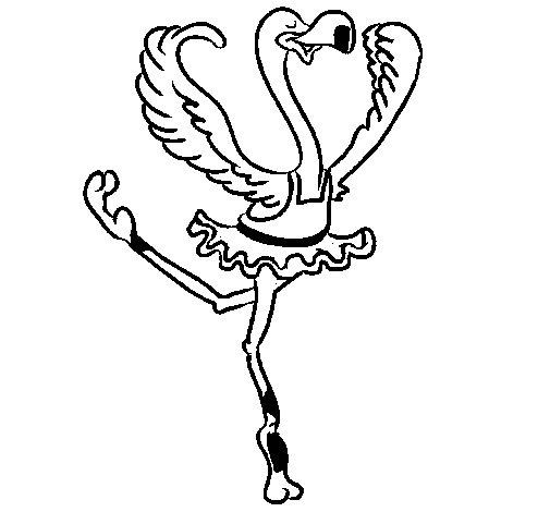 Desenho de Avestruz em ballet para Colorir