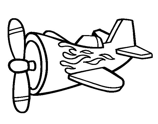 Desenho De Avião Em Chamas Para Colorir