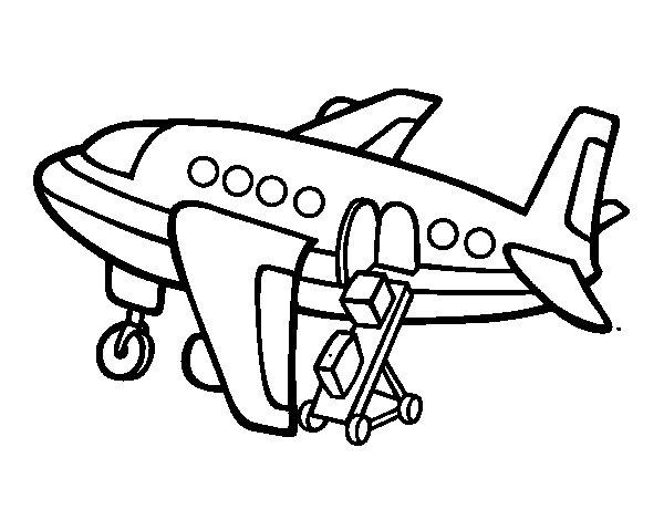 Desenho De Avião Levando Bagagem Para Colorir