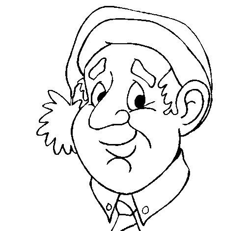 Desenho de Avô com gorro natalício para Colorir