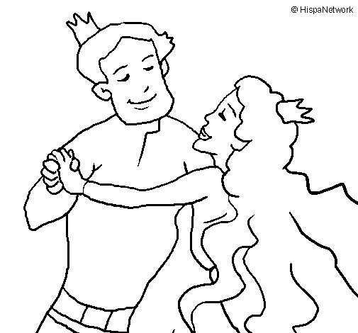 Desenho de Baile de príncipes para Colorir