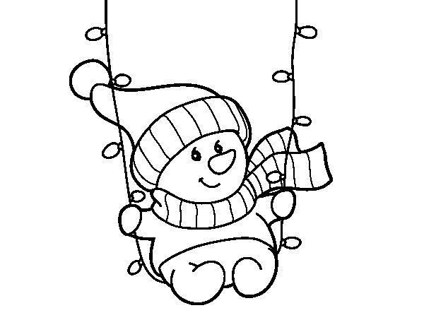 Desenho de Baloiço do boneco de neve para Colorir