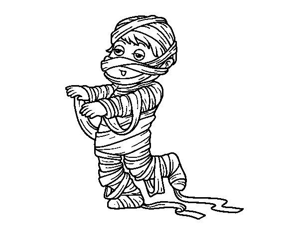 Desenho de Bambino vestido como uma múmia para Colorir