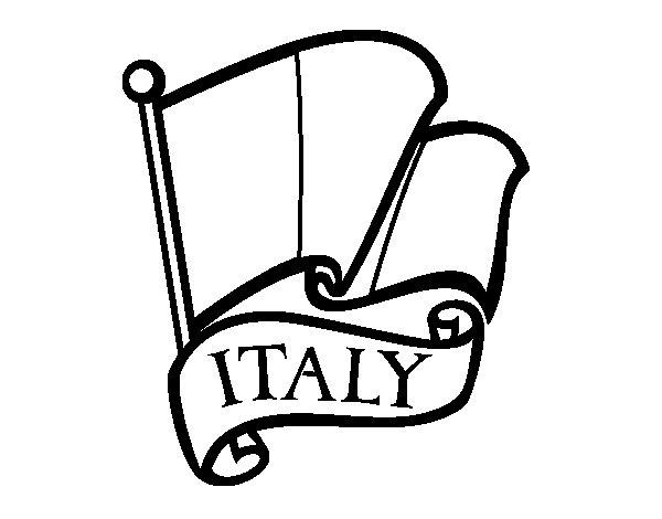 Desenho de Bandeira da Itália para Colorir