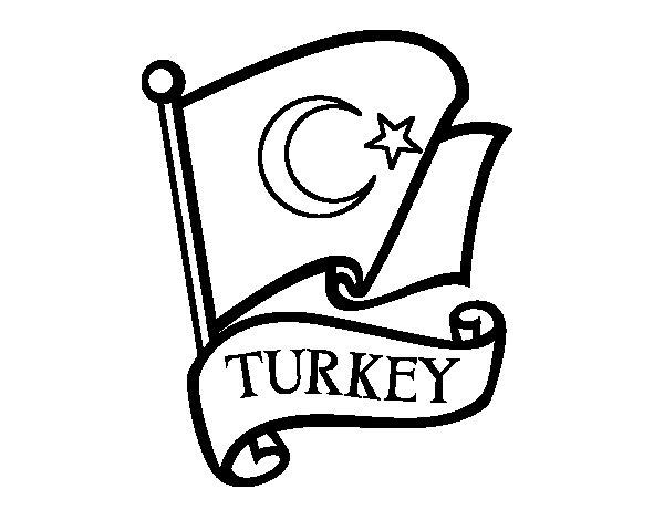Desenho de Bandeira da Turquia para Colorir
