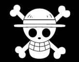 Desenho de Bandeira de chapéu de palha para colorear