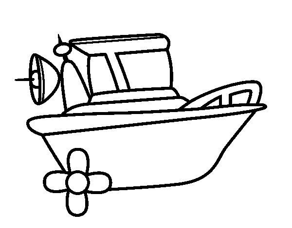 Desenho de Barco a motor para Colorir