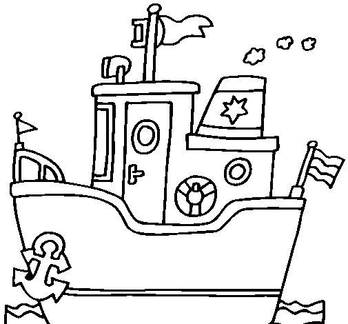 Desenho de Barco com âncora para Colorir