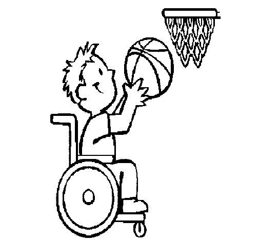 Desenho de Basquete em cadeira de rodas para Colorir