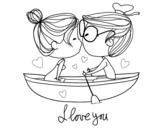 Dibujo de Beijo em um barco