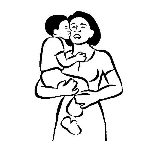 Desenho de Beijo maternal para Colorir