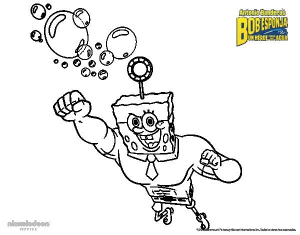 Desenho de Bob Esponja - A Invencibolha para o ataque para Colorir