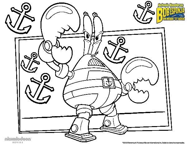 Desenho de Bob Esponja - Lorde Pinça-Tudo para Colorir