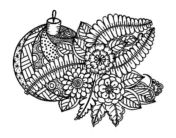 Desenho de Bola de Natal com decoração para Colorir