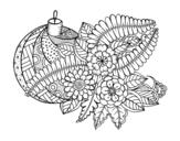 Desenho de Bola de Natal com decoração para colorear
