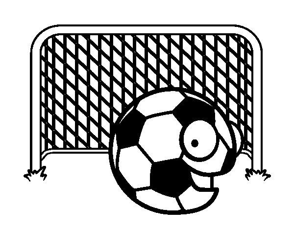 Desenho de Bola na meta para Colorir