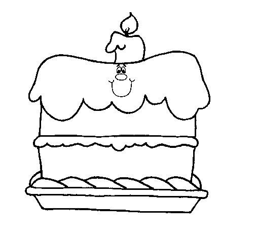 Desenho de Bolo de aniversário para Colorir