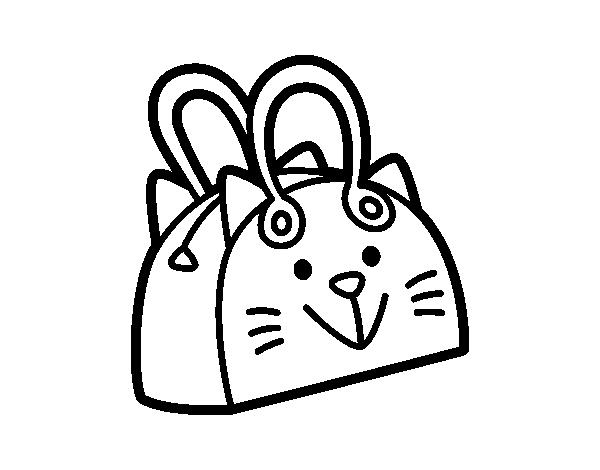 Desenho de bolsa cara do gato para colorir - Bolsas para pintar ...
