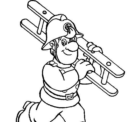 Desenho de Bombeiro 8 para Colorir