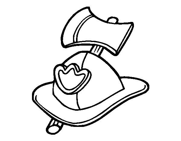 Desenho de Bombeiro capacete e machado para Colorir