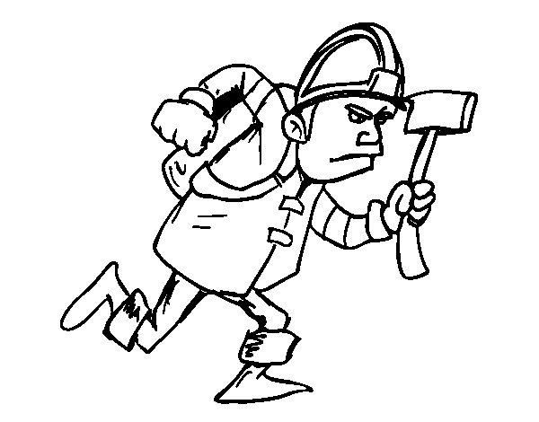 Desenho de Bombeiro com machado para Colorir