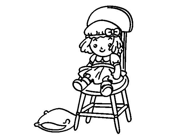 Desenho de boneca sentada para colorir for Sillas para imprimir