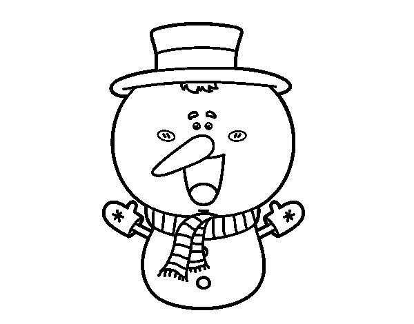 Desenho de Boneco de neve cabeçudo para Colorir