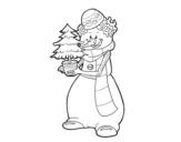 Desenho de Boneco de neve com árvore de Natal para colorear