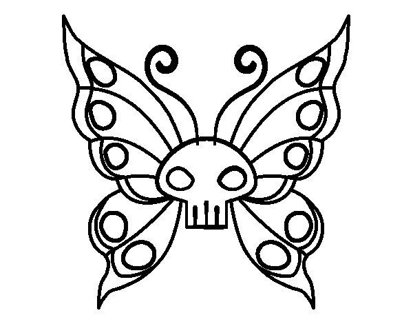 Desenho de Borboleta Emo para Colorir