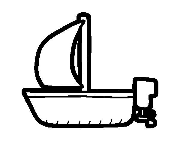 Desenho de Bote maior com vela para Colorir
