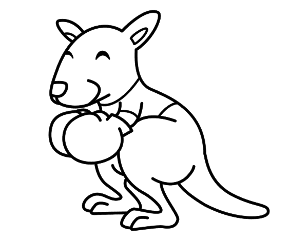Desenho de Boxe canguru para Colorir
