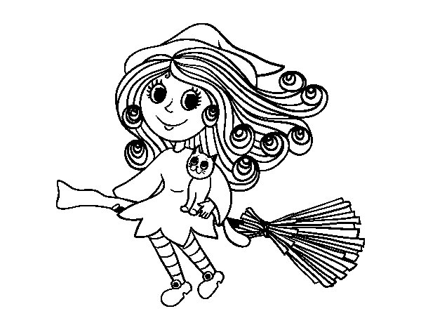 Desenho de Bruxa com escoba para Colorir