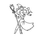 Desenho de Bruxa com falcão para colorear
