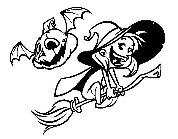 Desenho de Bruxa e abóbora do Dia das bruxas para Colorir