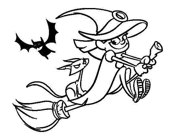Desenho de Bruxa e gato preto voando para Colorir