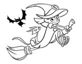 Desenho de Bruxa e gato preto voando para colorear