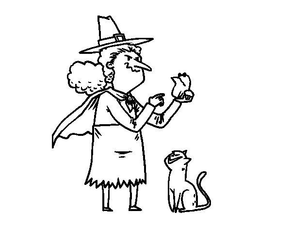 Desenho de Bruxa malvada com a rã para Colorir