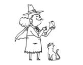 Desenho de Bruxa malvada com a rã para colorear