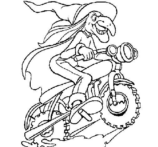 Desenho de Bruxa numa moto para Colorir