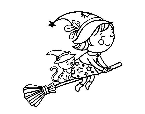 Desenho de Bruxinha a voar com sua vassoura para Colorir