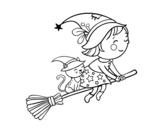Desenho de Bruxinha a voar com sua vassoura para colorear