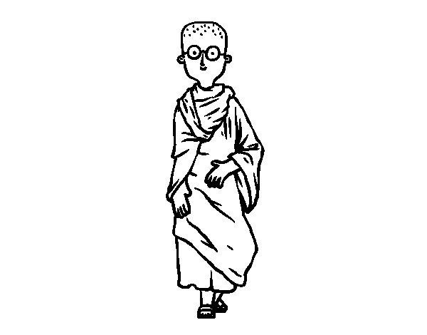 Desenho de Budista jovens para Colorir