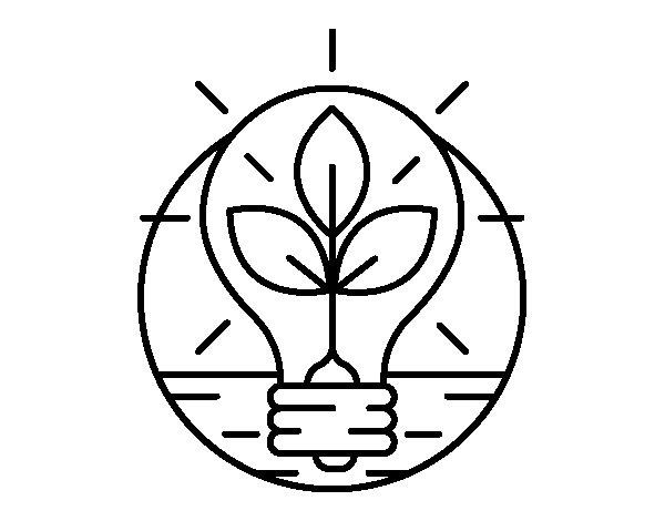 Desenho de Bulbo com folhas para Colorir