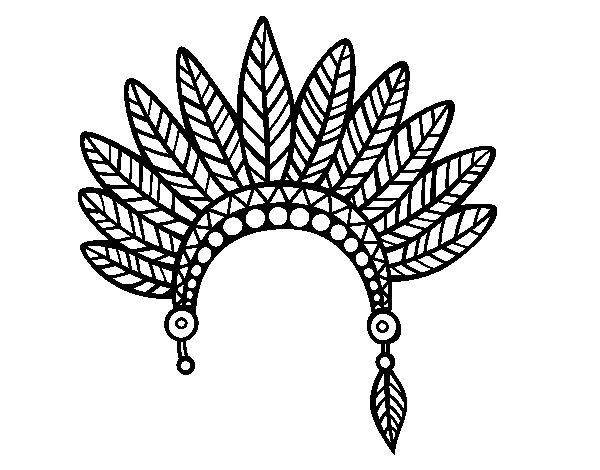Desenho de Cabeça coroa de penas indiana para Colorir