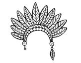 Desenho de Cabeça coroa de penas indiana para colorear