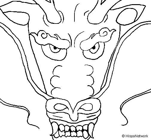 Desenho de Cabeça de dragão para Colorir