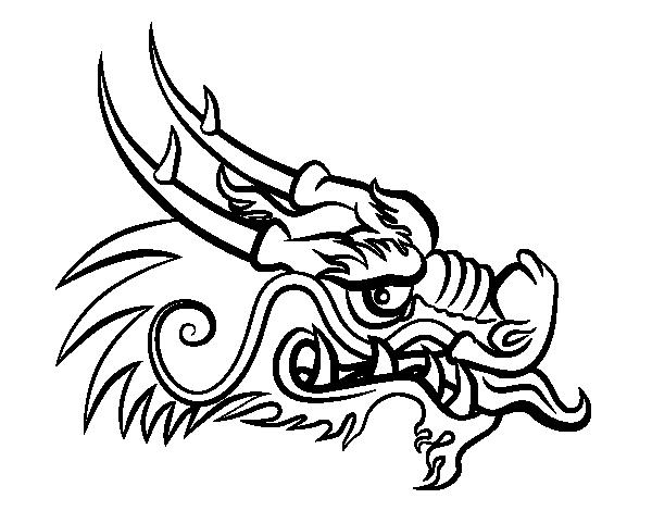 Desenho De Cabeça De Dragão Vermelha Para Colorir