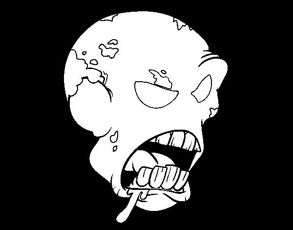 Desenho de Cabeça de zombie para Colorir