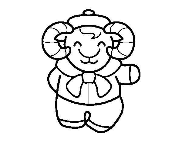 Desenho de Cabra em inverno para Colorir