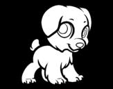 Desenho de Cachorro feliz para colorear